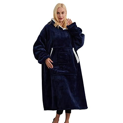 SHUOJIA Manta Tipo Sudadera con Capucha, Invierno Cálido Suave Forro Polar Sherpa De Gran Tamaño Manta De TV Camisón Pijamas para Hombre Mujer (??)