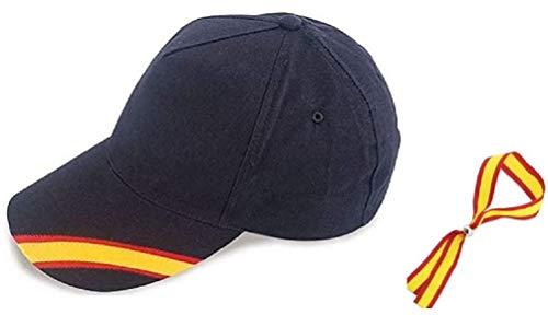 Gorra Azul Bandera de España y Regalo Pulsera Tela Bandera Española. Presentado en Bolsa de Tela Granate.