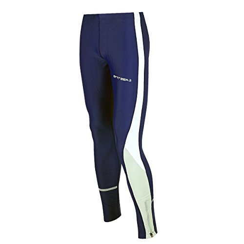 Airtracks Funktions Laufhose Lang/Damen oder Herren/Running Tight/Kompression/Atmungsaktiv/Reflektoren - Navy-blau - M - Damen
