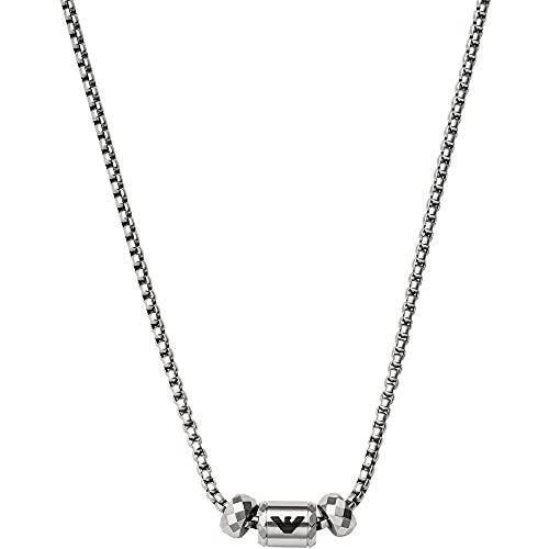 Emporio Armani Collar para hombre de acero inoxidable plateado, EGS2777040