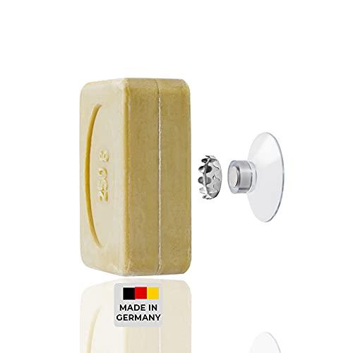 SAVONT Seifenhalter mit Magnet Jumbo, für Seifen bis 250 g, ohne Bohren, mit Saugnapf, für Waschbecken, Dusche und Badewanne Silber