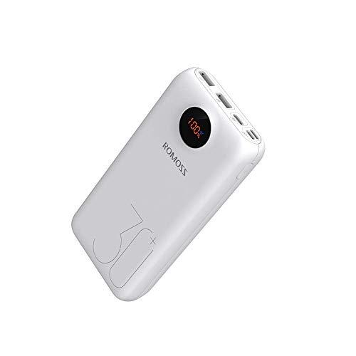 Romoss Powerbank 26800mAh Typ-C PD, 18W Tragbares Ladegerät LED-Anzeige, 3-Input-Output Externe Akkus Kompatibel für iPhone, iPad, MacBook, Samsung, usw.