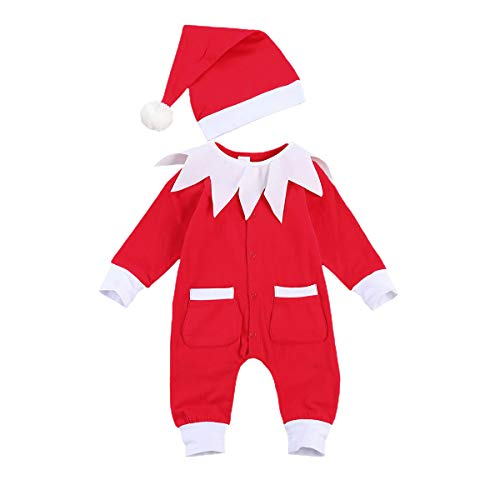 Body para Bebé Recién Nacido Unisex Invierno Navideño Mameluco Bebé Navidad Manga Larga con Dibujo Papá Noel y Alce Mono Bebé Unisex para Niños de 0-24 Meses (Papa Noel2, 6-9 M)