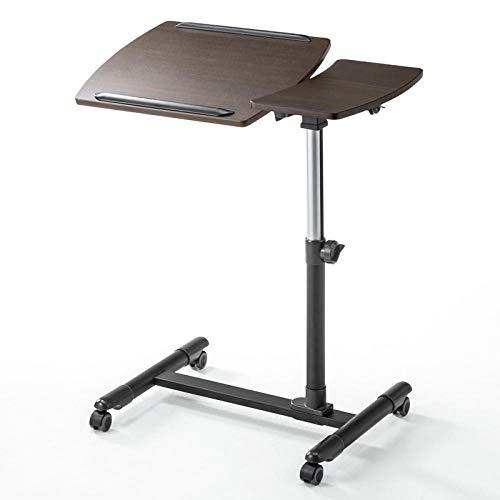 Aluminiumlegierung Laptop Tischhalterung mit Brown Density Board,Mit Mausbrett, Einstellbarer Höhe, Abschließbaren Rollen,Schmaler Nachttisch für Diejenigen, Die Auf Das Bett Beschränkt Sind, Um Mahl