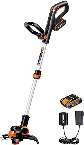 WORX - Débroussailleuse sans fil - 20V - Ø30cm - WG163E (Capot de protection, poignée amovible et bobine de fil (Livrée avec deux batteries et chargeur, compatible outils et batteries PowerShare©)