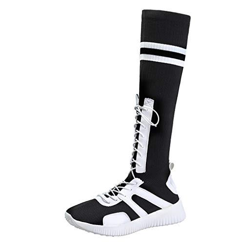 BRISEZZ dames en studenten herfst en winter sokken schoenen elastische sokken hoge laarzen vrijetijdslaarzen ademende damesschoenen voor dagelijks gebruik (rood, wit, zwart, 35,5-39)