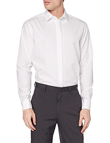 Seidensticker Herren Modern Kent Party Businesshemd, Weiß (Weiß 01), 41