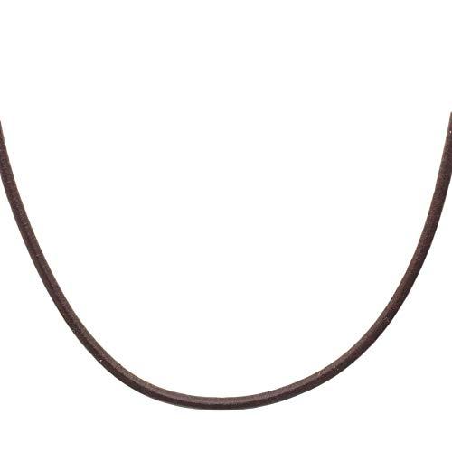 Lederband aus echtem Leder | braun 45 cm | Karabiner-Verschluss aus 925 Silber | Kette Leder Halsband K1992