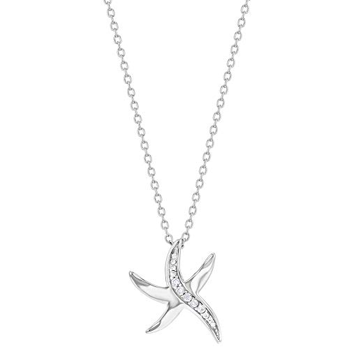 925 Sterling Silver 17' CZ Starfish Nautical Ocean Charm Pendant Necklace Teens and Women - Elegant & Shiny Clear Cubic Zirconia Pendant Necklaces for Girls - Fashionable Jewelry for Ocean Lovers