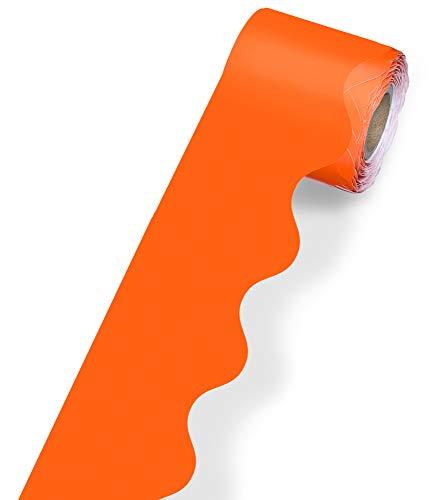 """Carson Dellosa Scalloped Bulletin Board Border—Orange Rolled Border for Bulletin Boards, Desks, Locker Displays, Homeschool or Classroom Decor (2.25"""" x 36')"""
