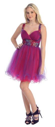 Big Sale Short Cocktail Party Junior Prom Dress #657 (16, Purple/Fuchsia)