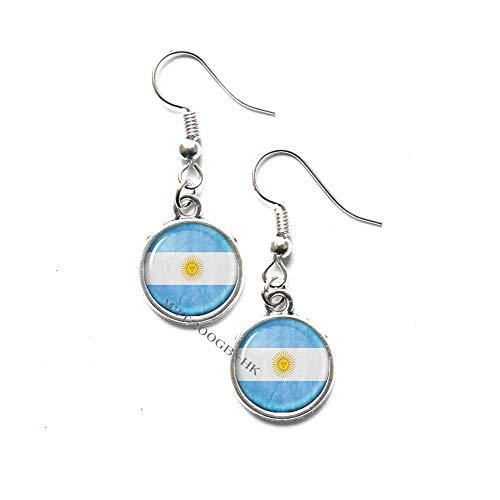 Pendientes hechos a mano con diseño de la bandera de Argentina y cúpula de cristal hechos a mano