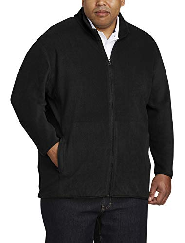 Amazon Essentials Men's Big and Tall Full-Zip Polar Fleece Jacket fit by DXL, Black, 5XLT