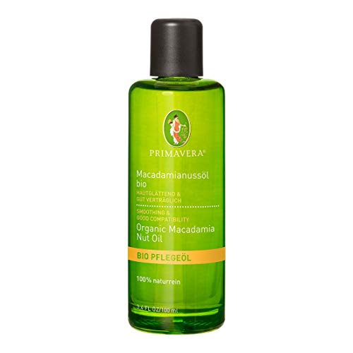 PRIMAVERA Pflegeöl Macadamianussöl bio 100 ml - Naturkosmetik, Pflanzenöl, Hautöl - glättend, stärkend für trockene, reife Haut - vegan