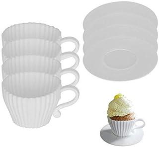Tumao カップケーキ型 シリコン 茶碗型 ケーキ マフィンカップ ベーキングカップ ベーキング イギリス式 シリコンモールド 耐熱 金型 製菓 手作り 8個入 ホワイト