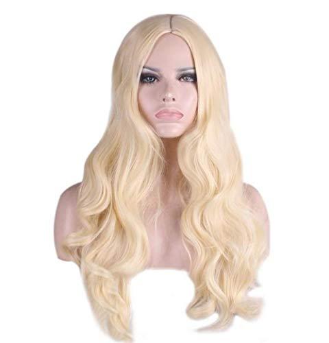 Europese en Amerikaanse pruik cos vermomde buitenlanders lang krullend haar Barbie Princess wit lichtgoud big wave midpoint anime