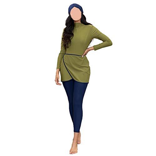 HaoFan Maillot de Bain Musulman Modeste - Ensemble de Burkini pour Femmes Ensemble de Pantalons Hijab Couverture Complète Séchage Rapide Élastique Beachwear Protection Solaire UPF 50+