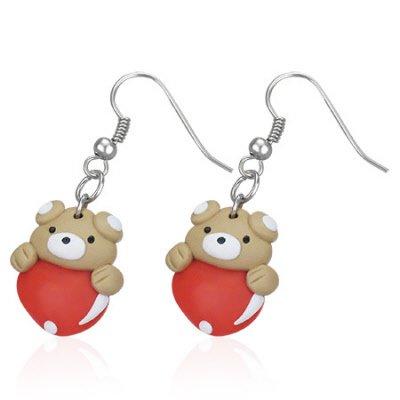 Boucles d'oreilles style manga petit ourson coeur rouge