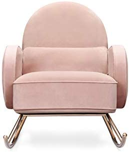 Best Nursery Works Compass Rocker in Blush Velvet with Rose Gold Legs
