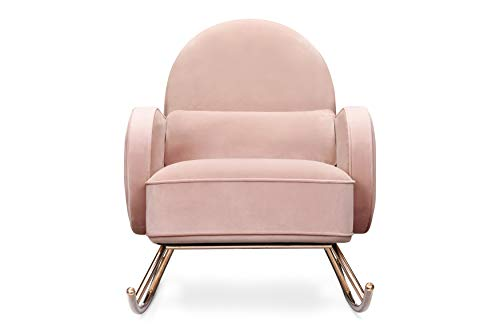 Nursery Works Compass Rocker in Coal Gray with Rose Gold Legs