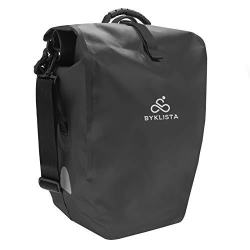 BYKLISTA® Fahrradtaschen für Gepäckträger wasserdicht mit Reflektoren & Schultergurt + Gratis eBook – hochwertige Fahrradtasche Gepäckträger – Gepäckträgertasche Fahrrad Tasche - schwarz