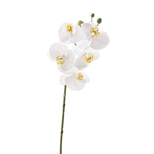 artplants.de Set de 3 x Rama de phalaenopsis Artificial Emilia, Tacto Real, 5 Flores, Blanco, 60cm - Varas de orquídea - Plantas de imitación