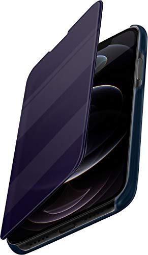moex Dünne 360° Handyhülle passend für iPhone 12/12 Pro   Transparent bei eingeschaltetem Bildschirm - in Hochglanz Klavierlack Optik, Blau