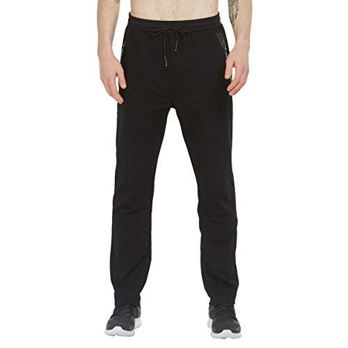 Tansozer Jogginghose Herren Baumwolle Trainingshose Männer Sporthose Herren Lang Fitness Hosen Herren Reissverschluss Taschen Ohne Bündchen Schwarz S