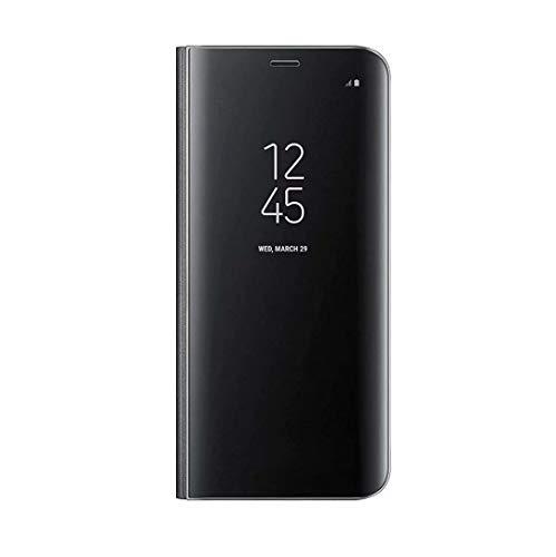 FANFO® Hülle für LG V60 ThinQ 5G, Hohe Qualität Mirror Ledertasche Flip Cover mit Stand, Clear View Booklet Handyhülle für LG V60 ThinQ 5G, Schwarz