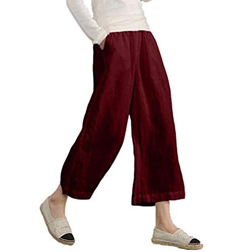 JERFER Damen Elastische Taille beiläufige lose Hose Hose mit weitem Bein abgeschnitten Mode lässig Herbsthose