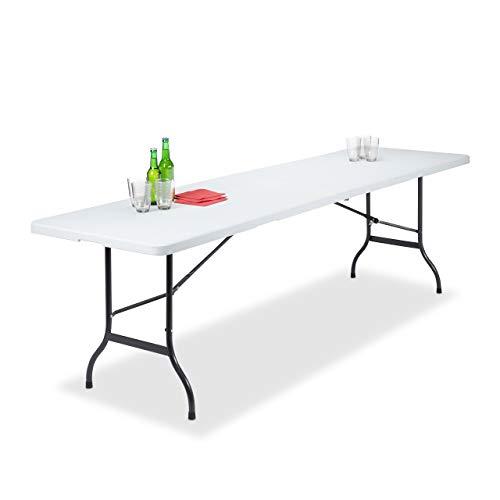 Relaxdays Gartentisch klappbar, als Koffer Tragbar, Wetterfest, Camping, Metall, Kunststoff, HxBxT: 73x240x70cm, weiß
