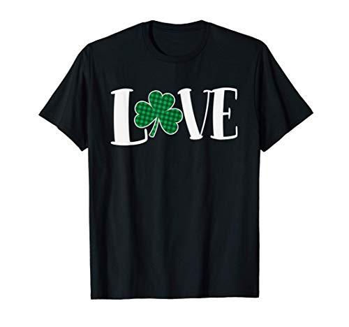 Love Green Buffalo Plaid Clover St. Patty's Day T-Shirt
