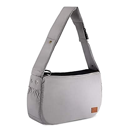 PETTOM Dog Sling Carrier Grey Small Dog Puppy Sling Pet Rabbit Cat Hands Free Adjustable Shoulder Carry Handbag with Mat Pad for Outdoor Travel 9