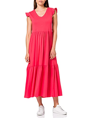 Only ONLMAY Life S/S Frill Calf Dress Jrs Vestito, Rosso (Caeenne), XL Donna