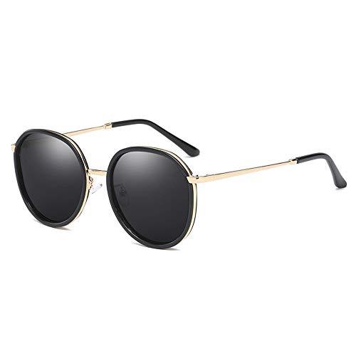 DKee New Trend - Gafas de sol polarizadas con marco redondo para mujer, protección UV400, marco negro (color: gris)