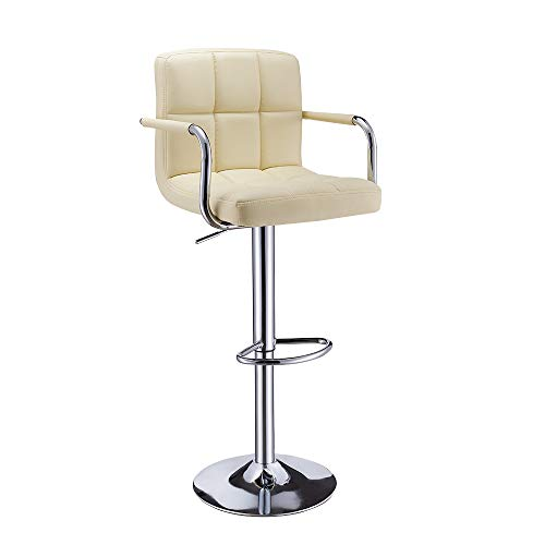 Bar Stools with Armrest, Height Adjustable Cuban Bar Chairs Synthetic Leather 360° Swivel Kitchen Stool with Backrest and Footrest for Breakfast Bar, Counter, Kitchen and Home (Single, Yellow Cream2)