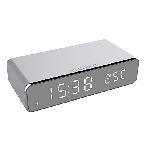 LEAMER Reloj despertador de carga inalámbrica, 3 en 1 LED digital despertador con carga inalámbrica Qi, termómetro y pantalla de espejo HD para todos los dispositivos habilitados para carga Qi