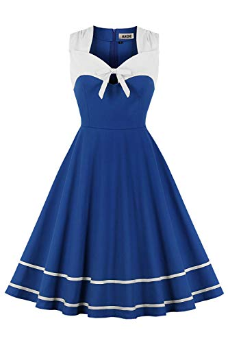 AXOE Damen 60er Jahre Mode Kleid Vintage Marinekleid Blau mit Weiß Gr.50