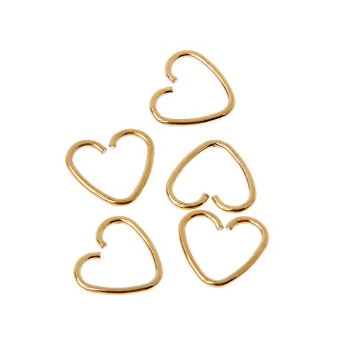 GROOMY Pendiente, Forma de corazón Falso Tragus Piercing Hoop Helix Cartilage Tragus Daith Stud Earring- Dorado