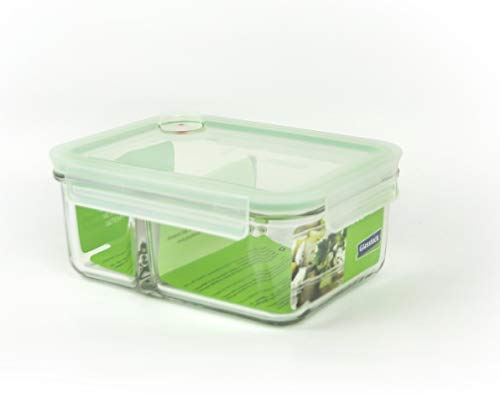 GLASSLOCK (MCRK-100A Rechteckige Vorratsdose aus temperiertem Glas mit Ventil Box-to-go (1000ml) Air Type - Mikrowellen