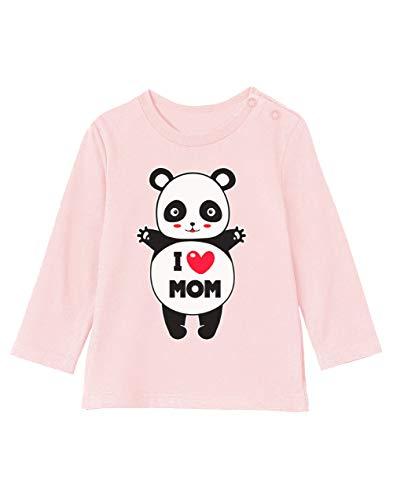 Green Turtle Fête des Mères - Panda I Love U Mom T-Shirt Bébé Unisex Manches Longues 3-6M 60/66cm Rose Pale
