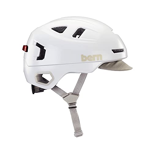 BERN, Hudson MIPS Bike Helmet with Integrated LED Rear Light and U-Lock Compatibility for Commuting, Satin White, Medium