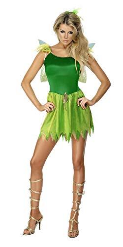 Smiffys Costume petite fée des bois, vert, avec robe, coiffe et ailes