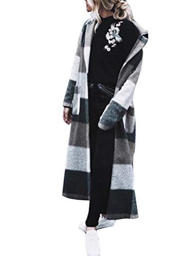 Onsoyours Weiß Grau Kariertes Schottenkaro Langarm Elegant Wollmantel Wintermantel Damen Mode M