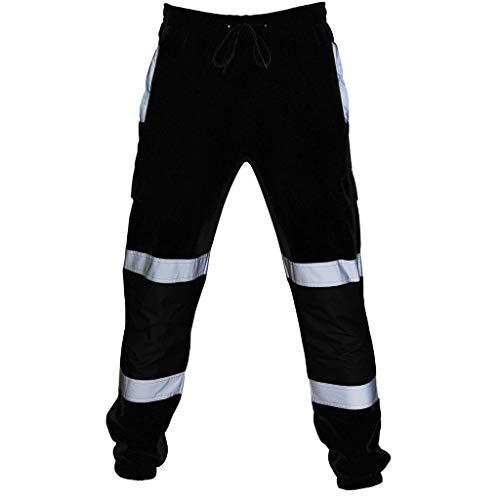 Pantalones Deportivos Elásticos para Hombre Multi-Bolsillo de Fitness Pantalón Deportivo Reflectante Moda Algodon Pantalones Deportivos Trabajo Corta Pantalones Chandal riou