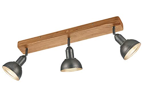 Trio Verlichting Retro LED-spotlight voor muur & plafond, houten balken plafondverlichting Scandinavisch & metalen kap industriële stijl rond