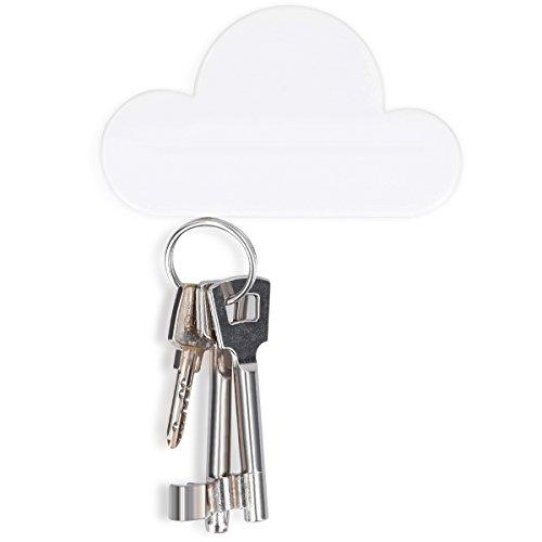 kwmobile Magnet Schlüsselhalter Organizer Wolke - Magnetischer Halter für Schlüssel in Weiß - einfache Installation ohne Bohren - Key Hook Magnettafel Magnetplatte