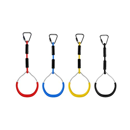 BESPORTBLE Swing Gymnastic Rings, Climbing Ring Obstacle Ring Swing Toys Set for Kids Play 4PCS (Red)