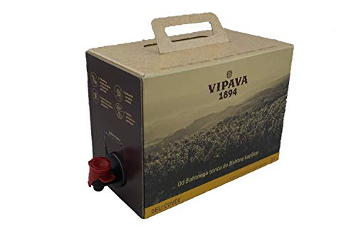 Vipava 1894 vino bianco Borsa in scatola 3 litri Cuvee bianco - Sauvignon Rebula vino bianco in scatola 3 litri (3 l)