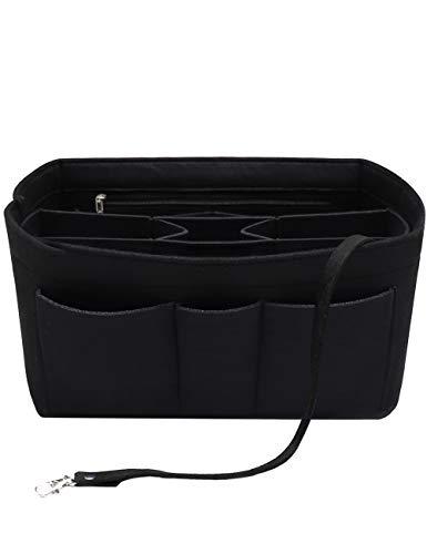 Felt Insert Fabric Purse Organizer Bag, Bag Insert In Bag with Zipper Inner Pocket Fits Neverfull Speedy 8010 Black M